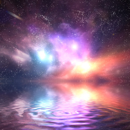 surreal: Ocean under galaxy, space sky. Stars, lights, fantasy background. Water reflection