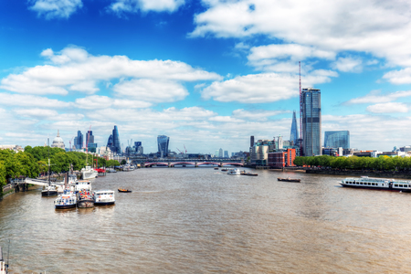 blackfriars bridge: London, the UK. View on River Thames and St Pauls Cathedral and the city from Blackfriars bridge at sunny day