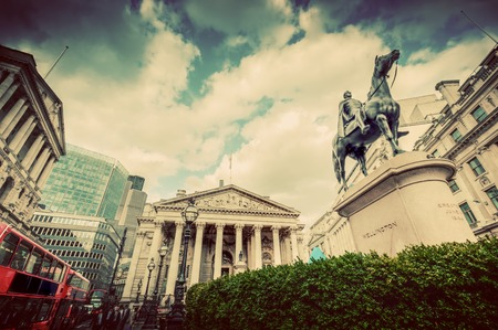 Bank of England, the Royal Exchange in London, the UK. Financial and business heart. Retro, vintage Editorial