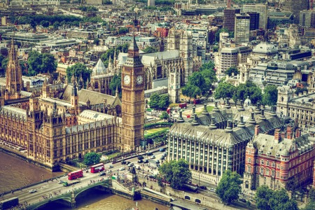 london eye: Big Ben, Westminster Bridge on River Thames in London, the UK. English symbol. Aerial view Stock Photo