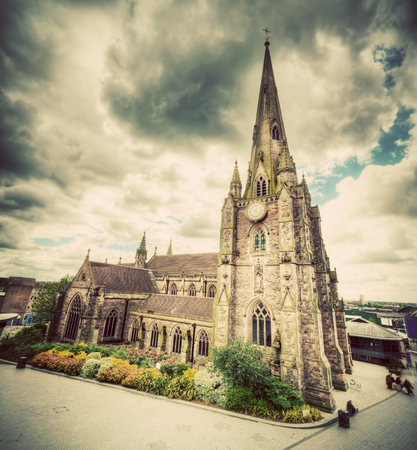 bull ring: St Martin in the Bull Ring church in Birmingham, England, the UK. Wide angle, vintage, retro