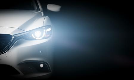 Modernen Luxus-Auto close-up Banner Hintergrund. Konzept der teuren, Sport Auto.