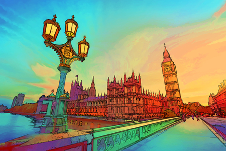 Cartoon style illustration of Big Ben seen from Westminster Bridge, London, the UK. at sunset. Retro street lamp light. Stock Photo