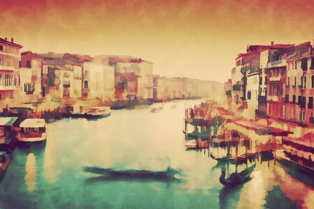 rialto: Vintage painting of Venice, Italy. Gondola floats on Grand Canal, Italian Canal Grande at sunset. View from Rialto Bridge