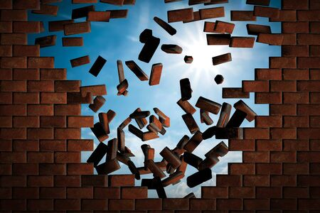 stumbling: Brick wall falling down making a hole to sunny sky outside. Concept of new better world, break the stumbling block Stock Photo