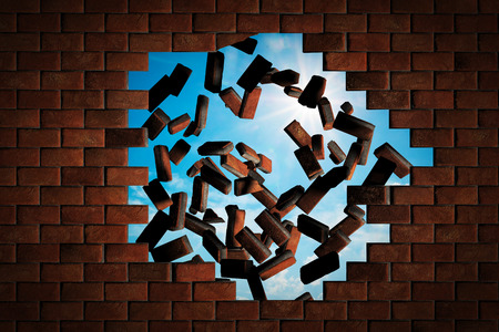 Brick wall falling down making a hole to sunny sky outside. Concept of new better world, break the stumbling block Archivio Fotografico