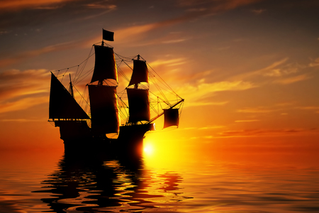 ancient ships: Old ancient pirate ship on peaceful ocean at sunset. Calm waves reflection, sun setting.