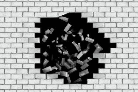 making hole: White brick wall falling down making a hole. Black background. Concept of new better world, break the stumbling block