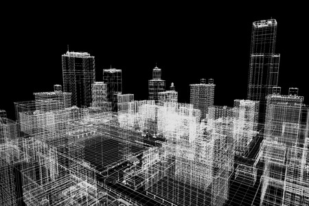 mesh: 3d city mesh architecture concept. Stock Photo