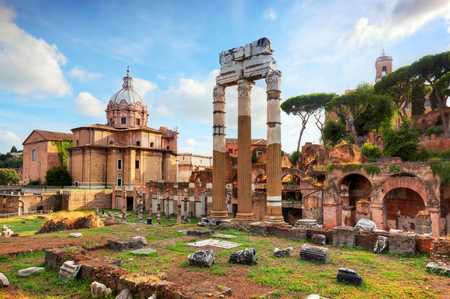 The Roman Forum, Italian Foro Romano in Rome, Italy. Ruins of Roman ancient city.