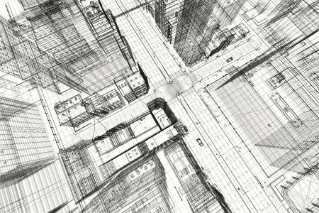 Stadsgebouwen project, 3d wireframe print, design. Architectuur, stedenbouwkundig plan, vastgoedsector