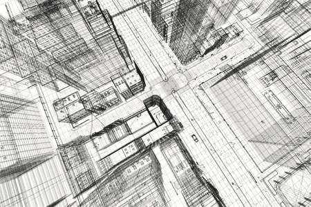 Stadtgebäude Projekt 3d Drahtmodell Druck, Design. Architektur, Stadtplanung, Immobilienwirtschaft
