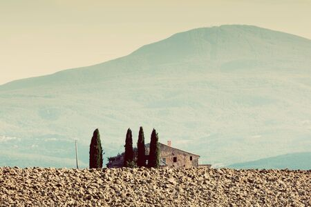 san quirico d'orcia: Tuscany landscape. Field, farm house among cypress trees. Italy, vintage