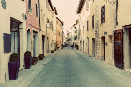 val dorcia: San Quirico dOrcia small town, municipality in Tuscany, Italy. Vintage Italian, tuscan street. Editorial