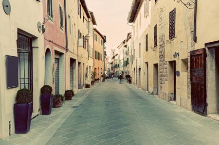 san quirico: San Quirico dOrcia small town, municipality in Tuscany, Italy. Vintage Italian, tuscan street. Editorial