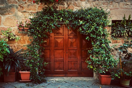 Retro wooden door outside old Italian house in a small town of Pienza, Italy. Plants decorations, ivy, vintage Stok Fotoğraf