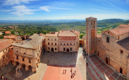 communal: Montepulciano town panorama in Tuscany, Italy. Historic city center. View from Communal Palace on La Cattedrale di Santa Maria Assunta