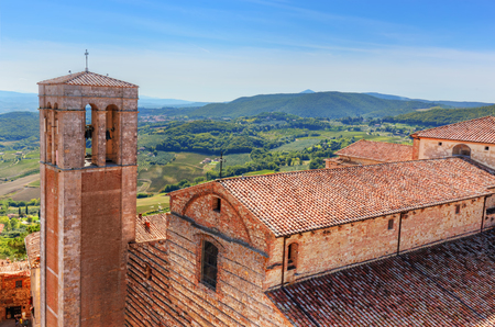 communal: Cathedral called in Italian La Cattedrale di Santa Maria Assunta. Montepulciano, Tuscany, Italy. View from Communal Palace Stock Photo