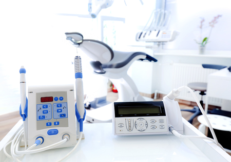 dental examination: Equipment and dental instruments in dentists office. Tools close-up. Dentistry