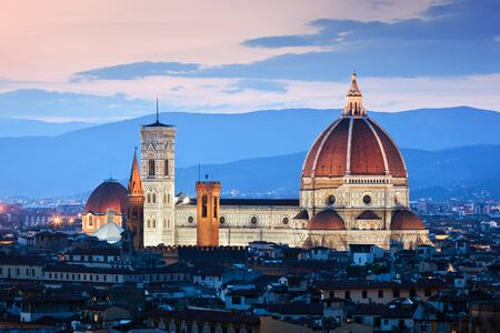 cattedrale: Florence, Italy skyline at sunset. Cathedral of Saint Mary of the Flowers. Italian Cattedrale di Santa Maria del Fiore, Firenze. Vintage