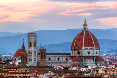 cattedrale: Florence, Italy skyline at sunset. Cathedral of Saint Mary of the Flowers. Italian Cattedrale di Santa Maria del Fiore, Firenze
