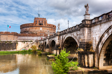 angelo: Castel SantAngelo, Rome, Italy. View from the other side of the Tiber river and Ponte SantAngelo bridge.