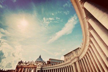 peters: St. Peters Basilica colonnades, columns in Vatican City. Vintage