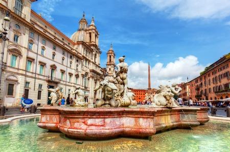 piazza: Piazza Navona, Rome, Italy. Fontana del Moro, Moor Fountain Stock Photo