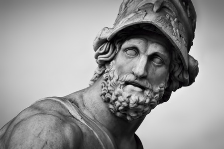 Ancient style sculpture of Menelaus supporting the body of Patroclus in Loggia dei Lanzi in Florence, Italy. Black and white, head close-up