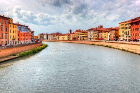 italian architecture: Arno river in Pisa, Tuscany, Italy. Italian architecture
