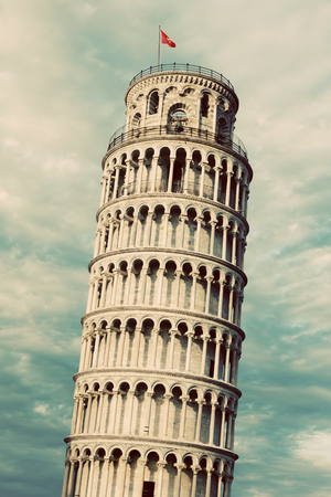 The Leaning Tower of Pisa, Tuscany, Italy. Popular European tourist attraction. Vintage, retro style Banco de Imagens