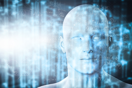 artificial: Virtual reality projection. Human and conceptual cyberspace, smart artificial intelligence. Future science with modern technology.