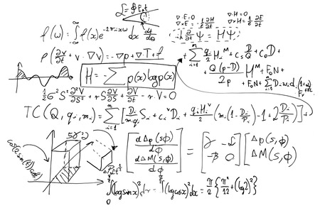 Complex math formulas on whiteboard. Mathematics and science with economics concept. Real equations, symbols handwritten by a professional. Stock Photo - 50883152