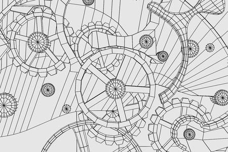 Abstrait arrière-plan industriel, la technologie. Gears contours, ingénierie, usine Banque d'images