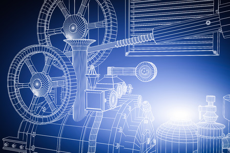 Abstract industrial, technology background. Gears outlines, engineering, factory