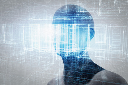 Virtual reality projection. Human and conceptual cyberspace, smart artificial intelligence. Future science with modern technology.