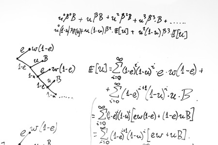 calculus: Complex math formulas on whiteboard. Mathematics and science with economics concept. Real equations, symbols handwritten by a professional.