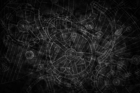 Abstracte industriële, technische achtergrond. Tandwielen contouren, techniek, fabriek Stockfoto - 50883365