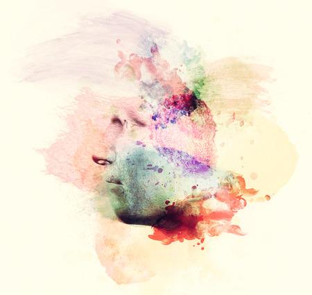 pensamiento creativo: la cara del hombre en la pintura a la acuarela, vista de perfil. Concepto de pensamiento creativo, la imaginación, las emociones