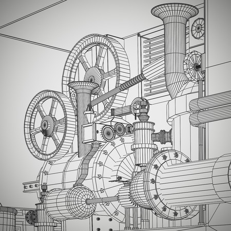 industry background: Abstract industrial, technology background. Gears outlines, engineering, factory Stock Photo
