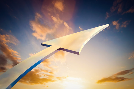 bright future: Abstract arrow pointing, growing to the sky. Conceptual growth, bright future, progress. Stock Photo