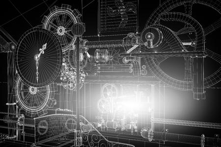 ingenieria industrial: Resumen de antecedentes industrial, la tecnología. Engranajes contornos, ingeniería, fábrica Foto de archivo
