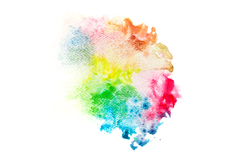 흰색 캔버스에서 다채로운 수채화 페인트입니다. 추상적 인 배경. 슈퍼 높은 해상도와 품질. 브러쉬, 디자인, 템플릿 등을위한 완벽한