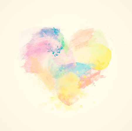 Colorful watercolor heart on canvas. Abstract art. Super high resolution and quality. Banco de Imagens