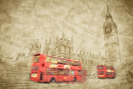 houses of parliament london: Artistic digital drawing of London, the UK. Red bus in motion and Big Ben, the Palace of Westminster. The icons of England in vintage, retro style