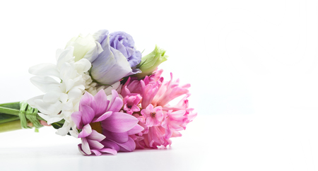 Bouquet of fresh flowers isolated on white. Perfect composition for Mothers Day or Valentines Day.