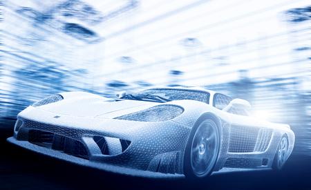 speed: modelo de coche concepto en el proyecto, estructura metálica. Velocidad, tecnología y ecología - el futuro de la industria.