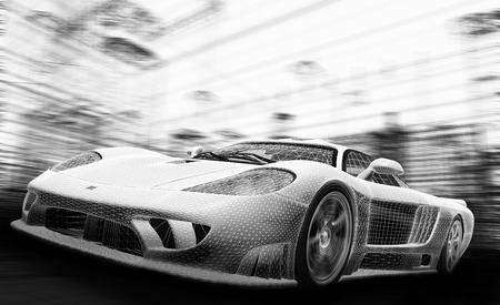 industrial design: Concept car model in wireframe. Speed, technology and ecology - the future of the industry. Stock Photo