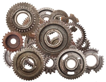 cog gear: Grunge gear, cog wheels mechanism isolated on white. Industry, science concepts. Authentic motor parts.