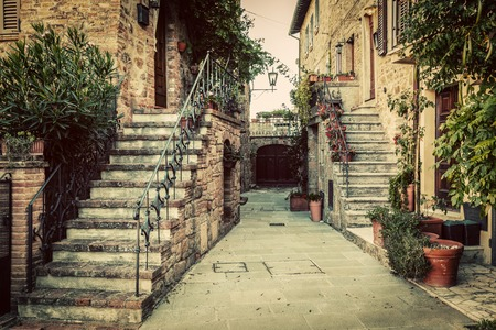 monticchiello: Charming old medieval architecture in a town in Tuscany, Italy. Vintage